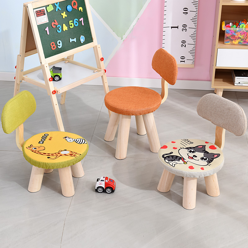 Creative Solid Wood Small Stool Home Baby Backrest Low Stool Shoe Change Small Bench  200 Kg Load Adults And Children Can Sit