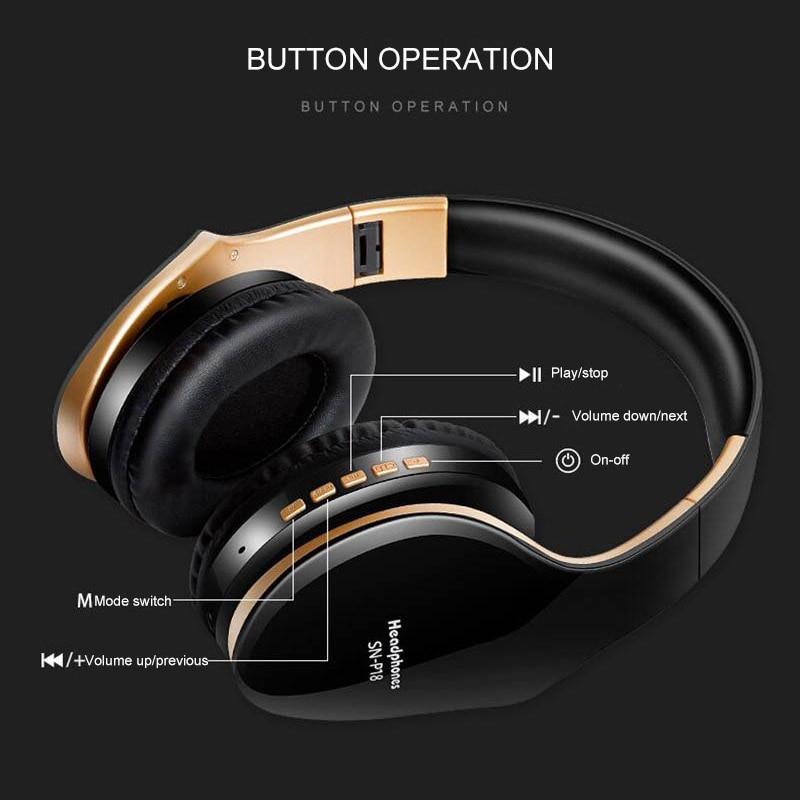Image 3 - PunnkFunnk Wireless Headphones V5.0+EDR Bluetooth Headset For Mobile Phone Mp3 Foldable Stereo Noise Reduction Gaming EarphonesBluetooth Earphones & Headphones   -