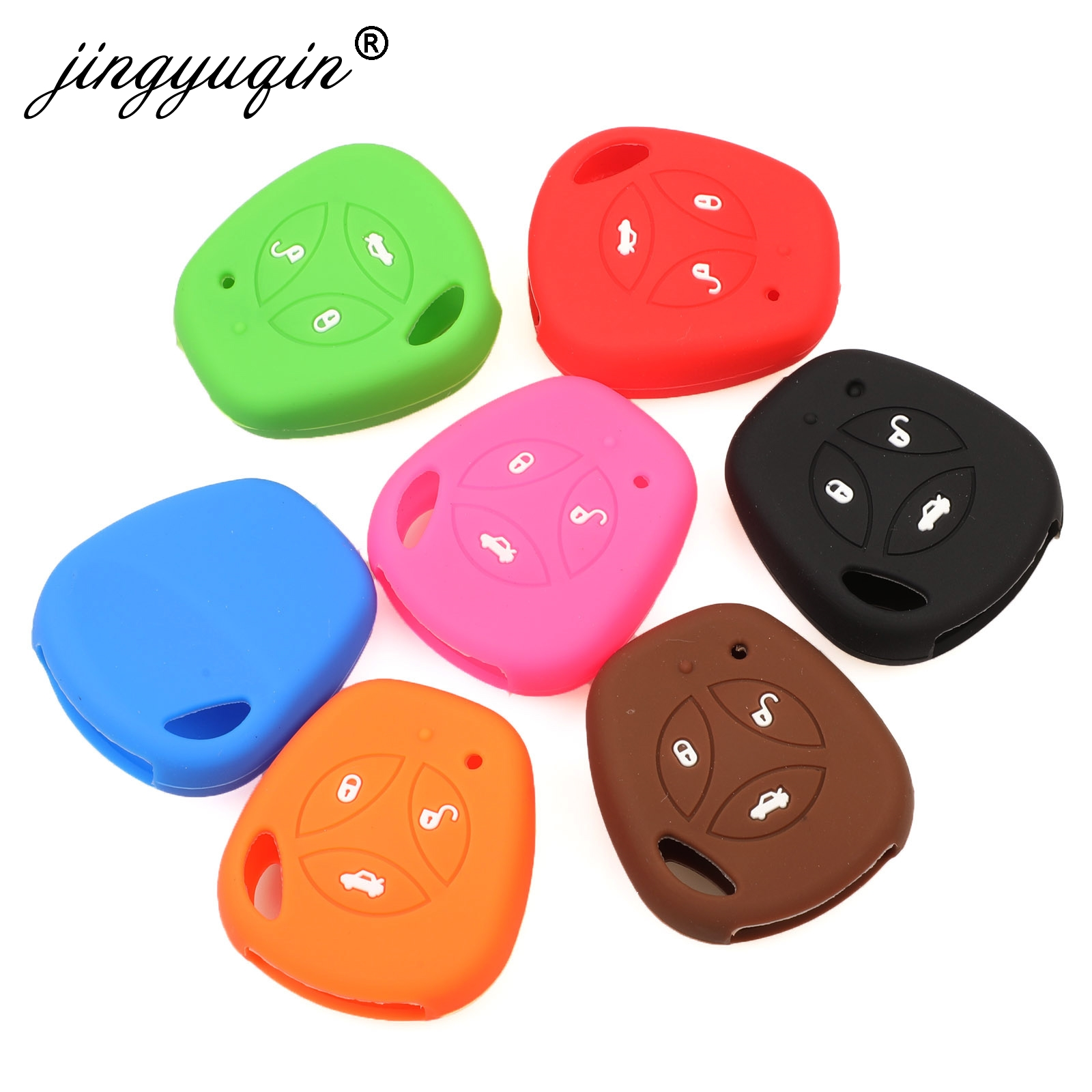 Jingyuqin Silicone Rubber Car Key Case For Lada Largus 4X4 Kalina Granta Priora Soft Silica Gel Protection Key Cover