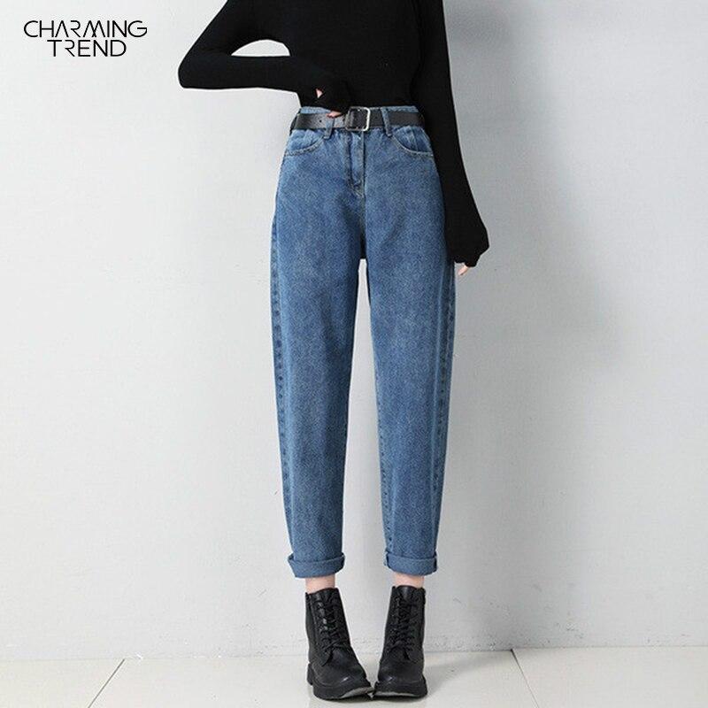Женские осенние зимние однотонные джинсы шаровары 2020 корейские брюки Bf женские джинсовые длинные брюки с высокой талией женские джинсы размера плюс 5xl Джинсы      АлиЭкспресс