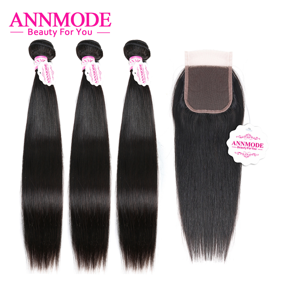 Annmode 4x4 Lace Closure With 3 Bundles  Brazilian Straight Hair With Lace Closure  Non Remy Hair Extensions Human Hair