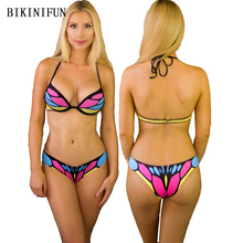 New Butterfly Print Bikini Set Women Swimsuit S-L Multi Color Bathing Suit Low Waist Swimwear Strappy Bandage Halter Bikini Set