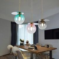 현대 로프트 장식 조명 펜 던 트 램프 새로운 다채로운 유리 공 매달려 램프 거실 레스토랑 바 주방 설비 luminaire