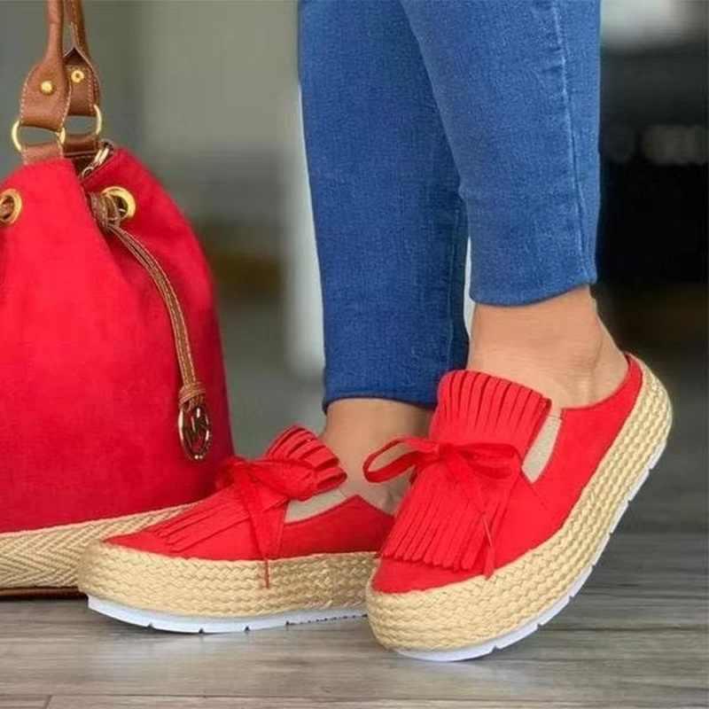 รองเท้าผ้าใบ 2019 แฟชั่นผู้หญิงสุภาพสตรี Espadrille รองเท้าหนาด้านล่างรองเท้าผู้หญิง Lace up รอบ Toe Casual Flats