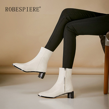 ROBESPIERE Winter Boots For Women Warm Plush Genuine Leather Female Shoes Square Toe Strange Style Large Size Ankle B107