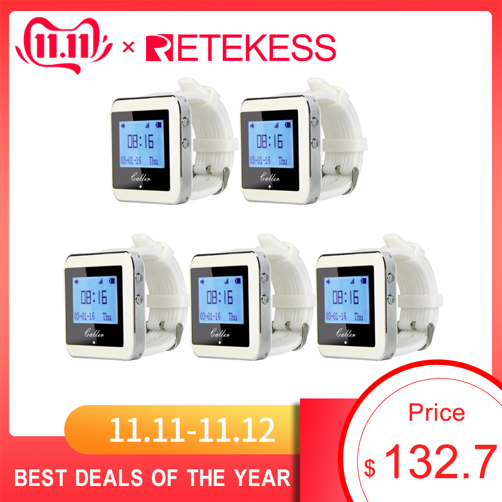 5pcs RETEKESS Watch Receiver Wireless Calling System Waiter Call Pager Restaurant Equipment Catering Customer Service F3288B-in Pagers from Computer & Office