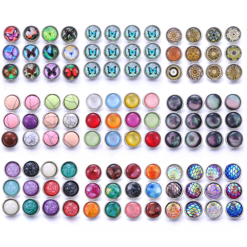 10pcs/lot Mix Style Resin 12mm Snap Button Jewelry Fit Snap Bracelet Earrings Necklace 12mm Snap Buttons For Snap Button Jewelry image