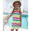 Vestido de verão 2020 crianças meninas coverups praia vestido grande meninas maiô cobrir com capuz nadar robe tamanho 6-16