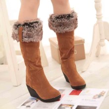 Womens Boots Fashion Brief Slip-On Wedges High Heeled Platform Snow Heels Female Round Toe Ladies solid Shoes