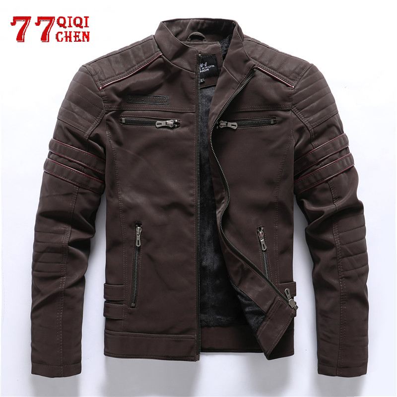 Faux Leather Jacket Men Winter Fleece Warm Motorcycle Windbreaker PU Leather Jackets Male Multi-pocket Embroidery Jackets