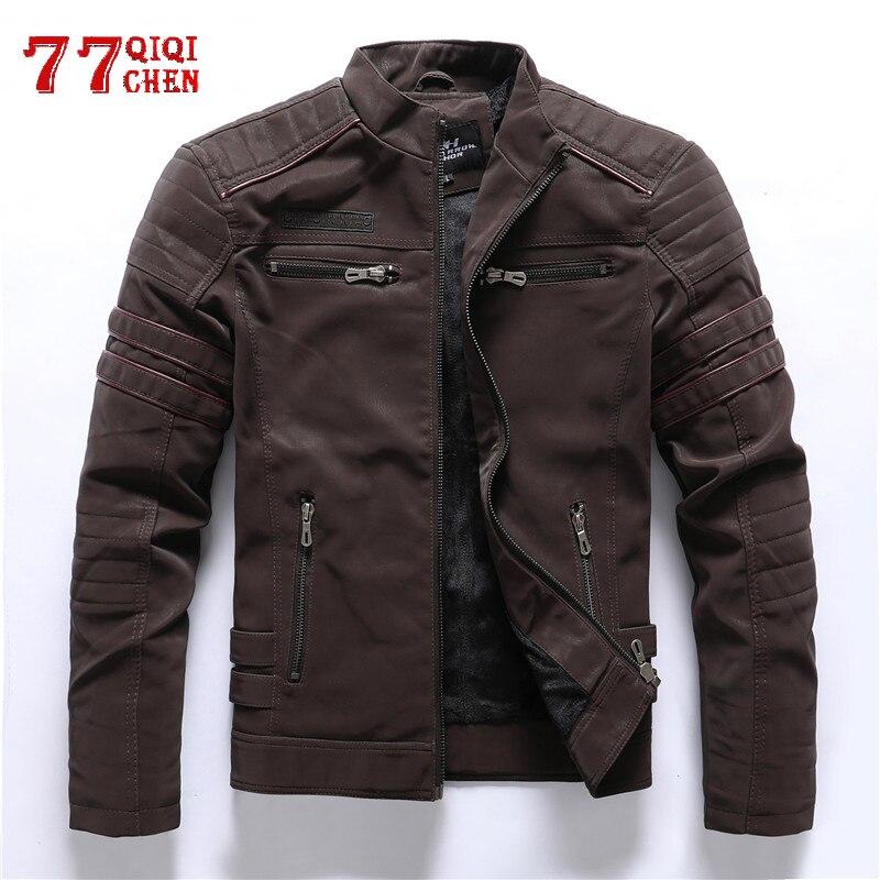 Faux Leather Jacket Men Winter Fleece Warm Motorcycle Windbreaker PU Leather Jackets Male Multi-pocket Embroidery Jackets