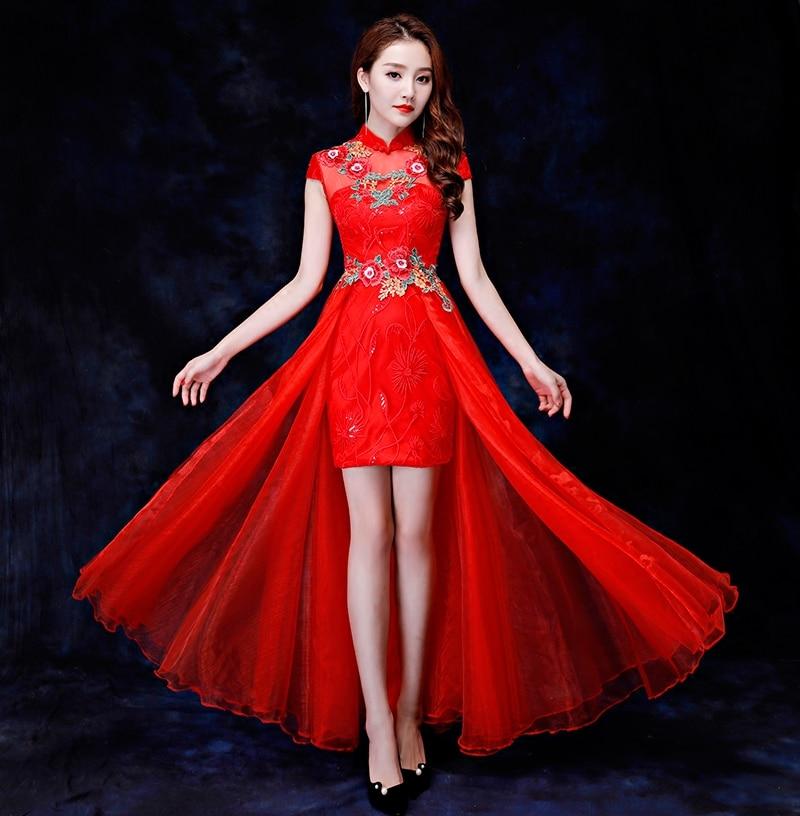 Chinese-Style-Print-Crane-Women-Qipao-Vintage-Red-Slim-Cheongsam-Classic-Mandarin-Collar-Vestidos-Bride-Wedding