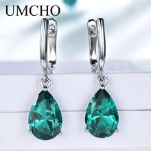 UMCHO Solid Silver 925 Jewelry Drop Created Nano Green Emerald Clip Earrings For Women Birthday Gifts Charms Fine Jewelry(China)