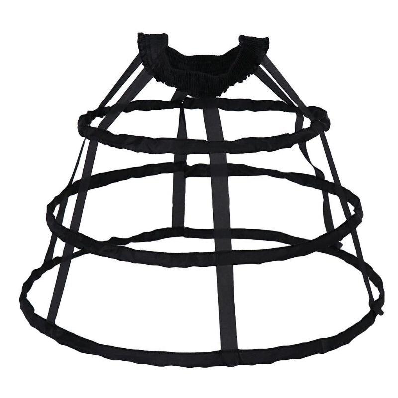 Women 3 Hoop Ruffle Cage Skirt Petticoat Vintage Lolita Dress Pannier Underskirt AXYD