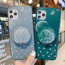 Free shipping For OPPO RENO Z 2 3 Pro Ace Mirror Quicksand Shell R17 R15 R15x Cartoon K3 K5 Tempered glass Case A5 A9 A11x