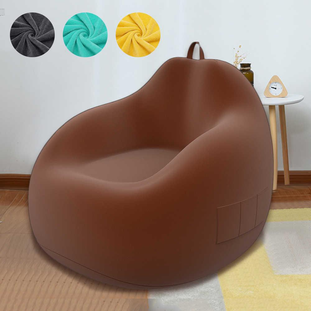 Nuevos sofás grandes pequeños y perezosos cubren sillas sin relleno de tela de lino tumbona asiento bolsa Puff sofá Tatami sala de estar