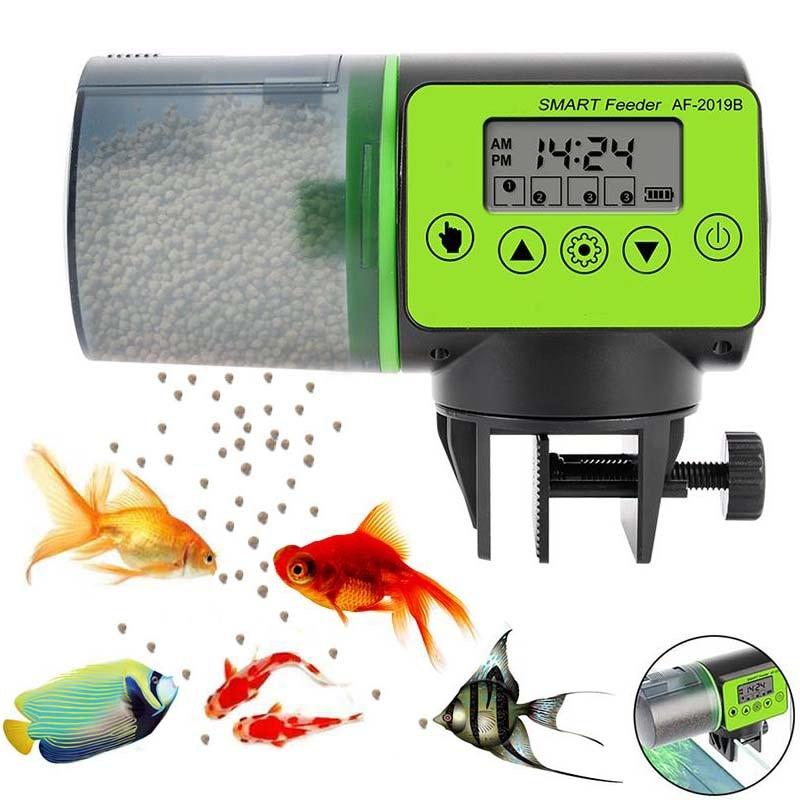 Inteligente aquário mini automático alimentador de peixes férias alimentadores do tanque de peixes automático com temporizador dispensador de alimentação para animais de estimação lcd ferramenta alimentador de peixes