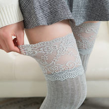 2019 Brand Nieuwe Vrouwen Winter Kabel Knit Over Knie Lange Laars Dij-Hoge Warme Kousen Kant Leggings(China)