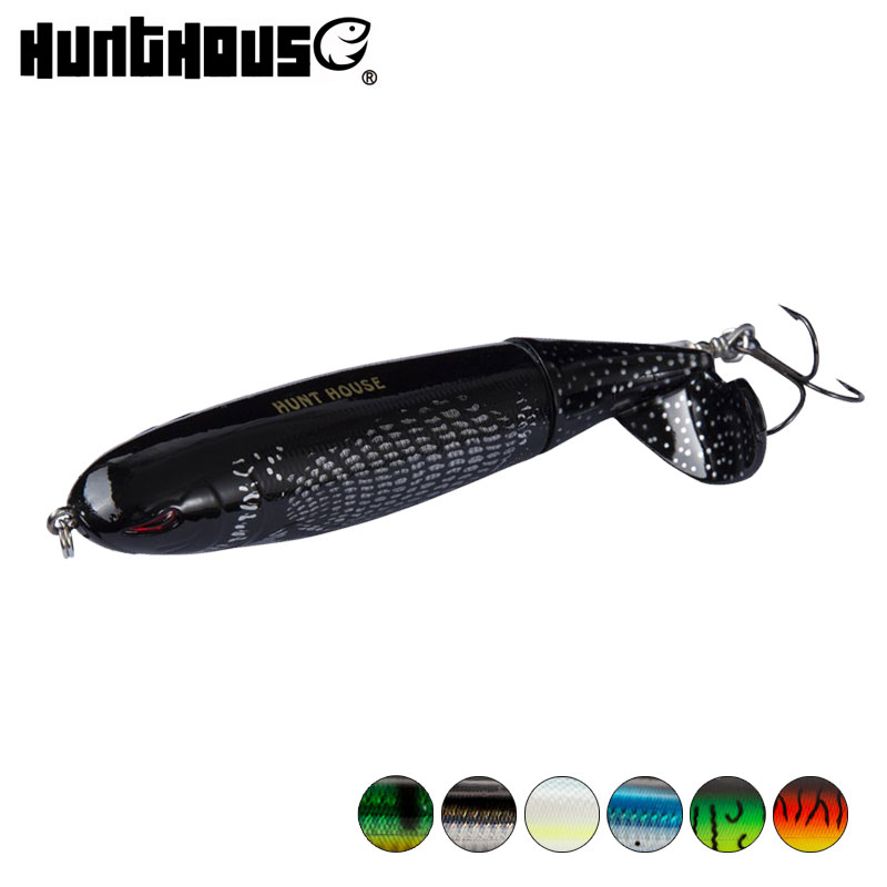 Hunthouse Whopper Plopper Topwater Fishing Lure Soft Rotating Tail 90mm 130mm ABS Material VMC Hook For Sea Freshwater Fishing