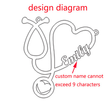 Custom Heart Stethoscope Name Necklace Stainless Steel Gold Chain Choker Necklaces For Nurse Doctor Gift Bff