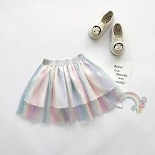 Short-Skirt Rainbow-Color Baby Summer Pudcoco Glitter-Belt Fresh Elastic Colorful