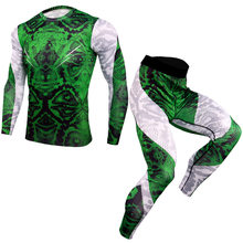 Men Running Sport Compression t shirt Pants Suits Jogging Sets Male Workout Gym Fitness Training Sportswear Tees Tops Leggings(China)