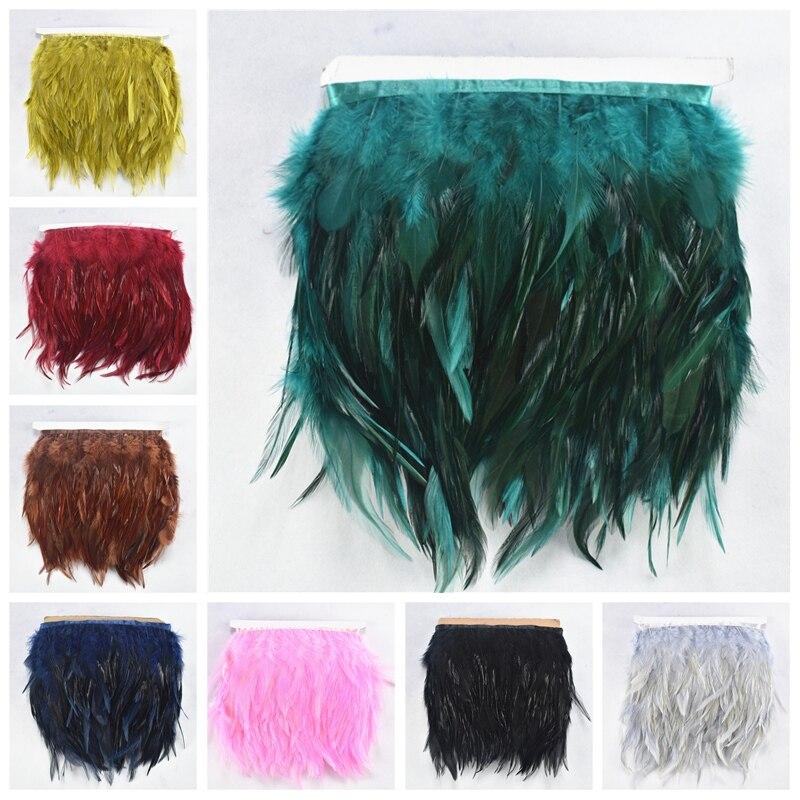 1 м/лот седло фазаньские перья отделка бахрома 4-6 дюймов бордовые петушиные перья лента швейные перья для изготовления ювелирных изделий Пл...