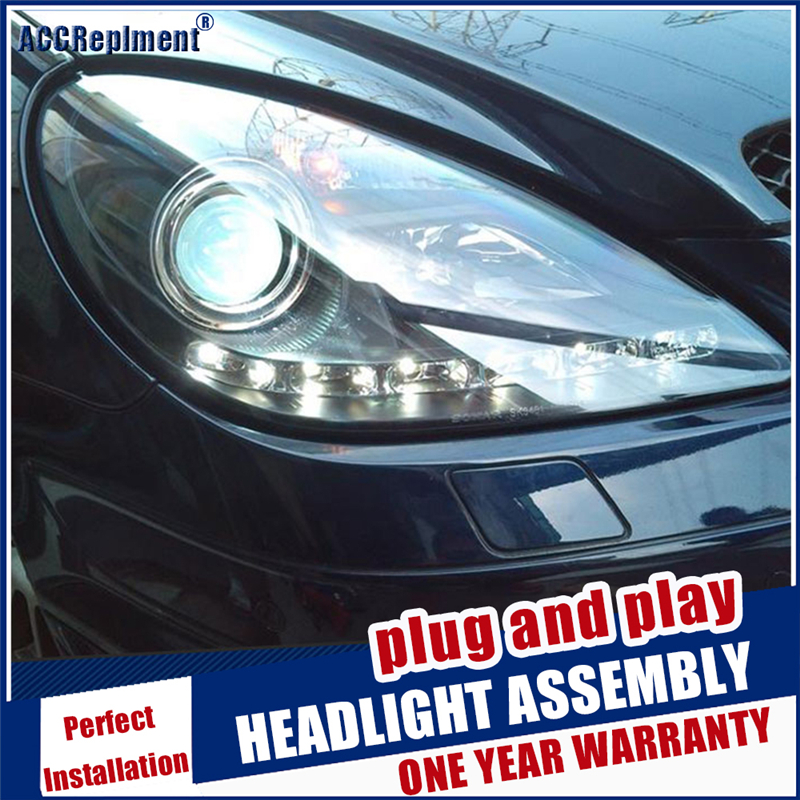 2004-2012 car Styling LED Head Lamp for Benz <font><b>R171</b></font> <font><b>headlights</b></font> for SLK200 SLK350 head light LED angle eyes drl hid Bi-Xenon Lens image