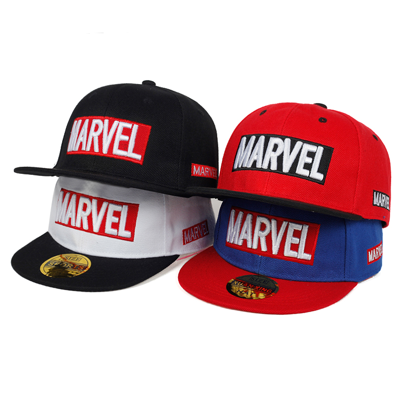 2019 Kids MARVEL Letter Embroidered Baseball Cap Fashion Hip Hop Snapback Hat Child Cotton Can Adjust Hats Stitching Caps