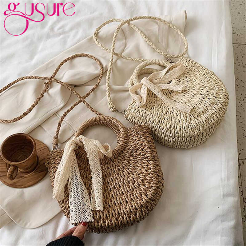 Bolsa de paja para playa Gusure, de verano, con cintas, hecha a mano, redonda, para mujer, bandoleras, rafia, círculo, ratán, bolso, cesta Bohemia, bolsos