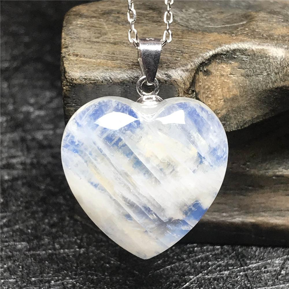 Natural Blue Light Moonstone Heart Pendant Necklace For Woman Lady 18x7mm Crystal 925 Silver Chain Luxury Necklace Jewelry AAAAA