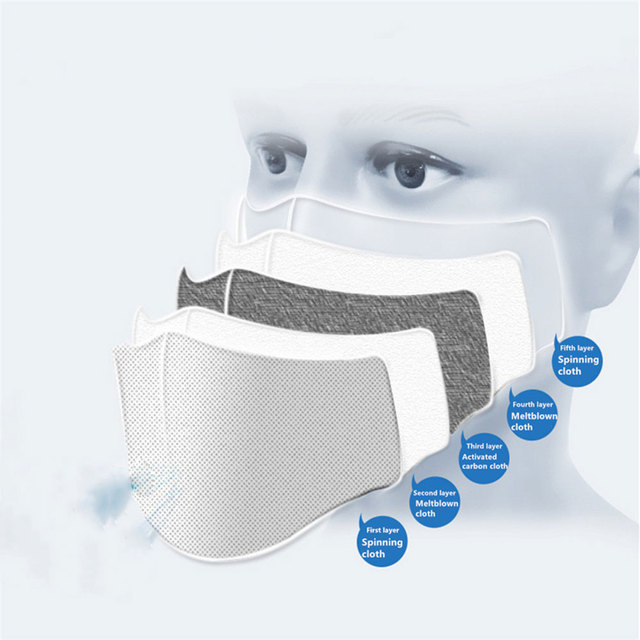 5 layers Protective PM2.5 Filter Mask Disposable Mouth mask Filter Anti Dust Face Mask Anti Flu Mask For Adult Kid mascarilla 4