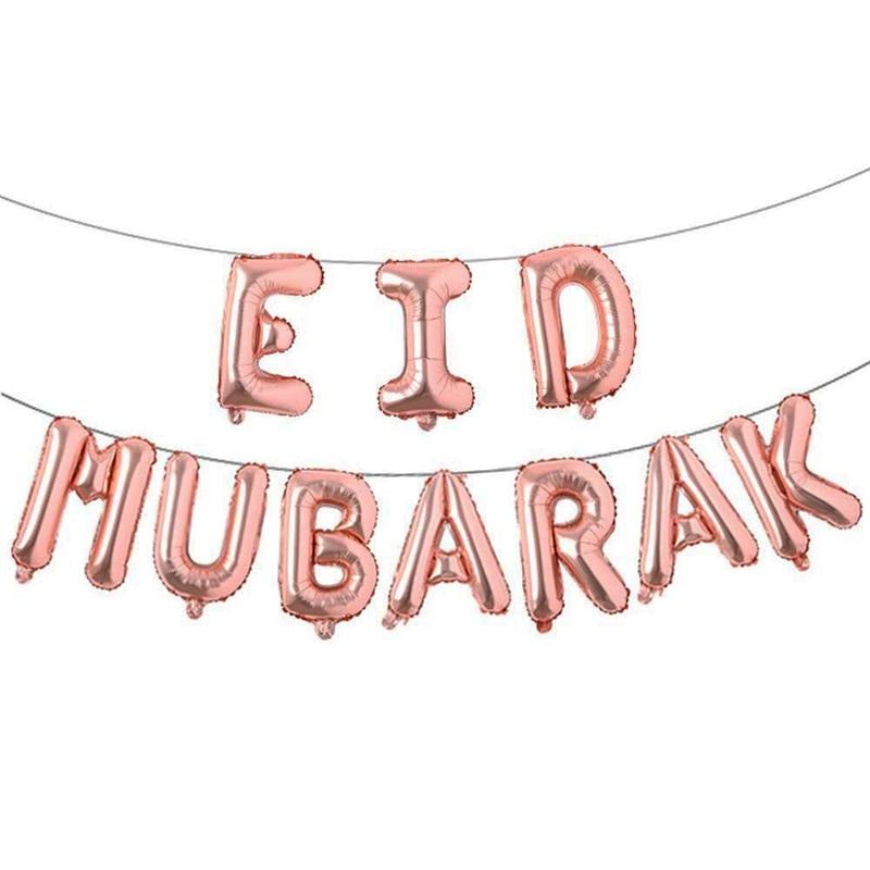 Image 4 - 16inch Rose Gold Eid Mubarak Foil Balloons Party Decoration  Supplies Ramadan Decoration Gold EID Balloons for Muslim EID  BallonParty DIY Decorations