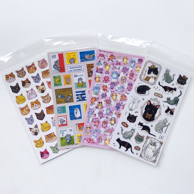 1 Sheet Cute Kawaii Cat Sticker Decorative Album Diary Stick Label Hand Account Decor Kids Gift