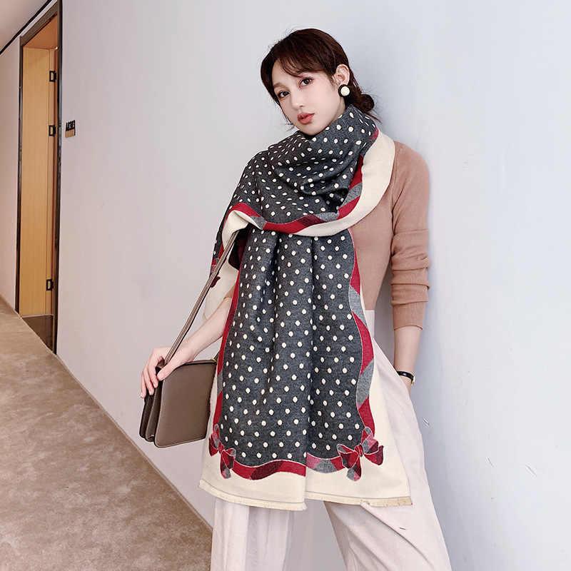 Bufanda de Cachemira de invierno con estampado de puntos para mujer 2019 nuevo arco grueso caliente chales y envolturas de verano para oficina de señora aire acondicionado Pashmina