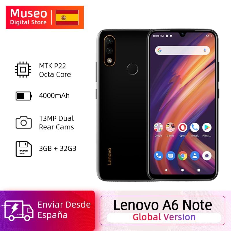 Global Version Lenovo A6 Note 3GB 32GB MTK P22 Octa Core Smartphone Dual Back Cams 19.5:9 6.09'' Inch 4000 MAh Smartphone