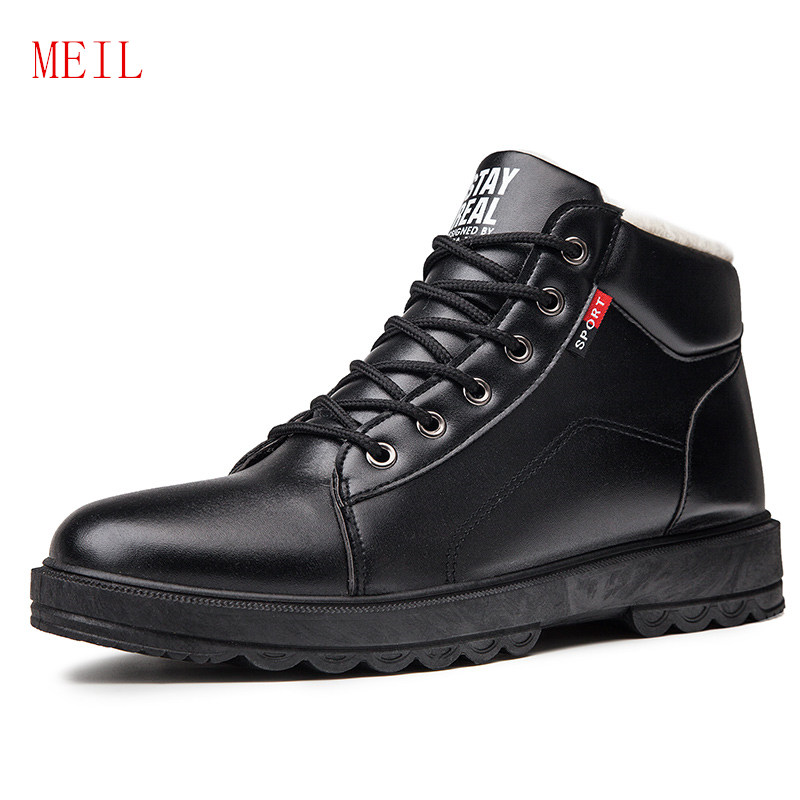Winter Waterproof Boots Men Shoes Leather Snowboots Anti-Slip Thick Sole Mens Casual Leather Ankle Boots  Botas Invierno Hombre
