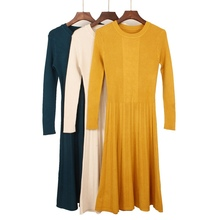 Womens Solid Color Sweater Autumn and Winter Dress Mid-Calf Long A-Line Soft Ribbed Knit