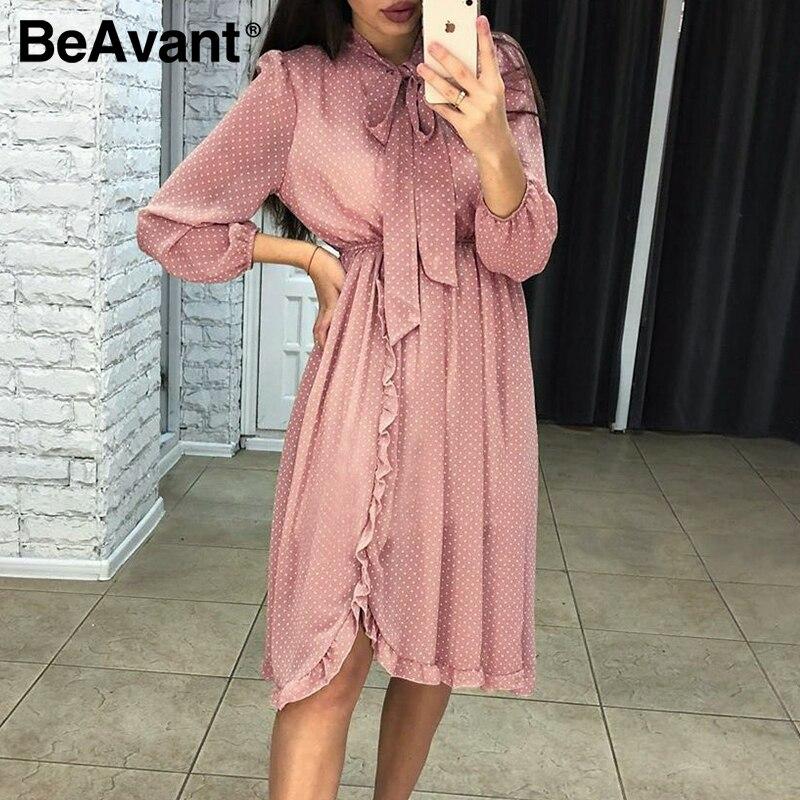 BeAvant Polka Dot Women Midi Dress Retro Spring Summer High Waist Long Sleeve Dresses Ruffle Female Bow Tie Shirt Dress Vestidos