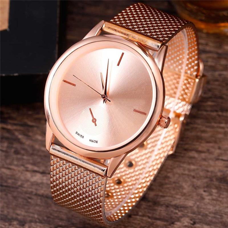 Relogio Feminino Women Luxury Watch Rose Gold Metal Mesh Band Stainless Steel Analog Quartz Wristwatch Minimalist Female Watches
