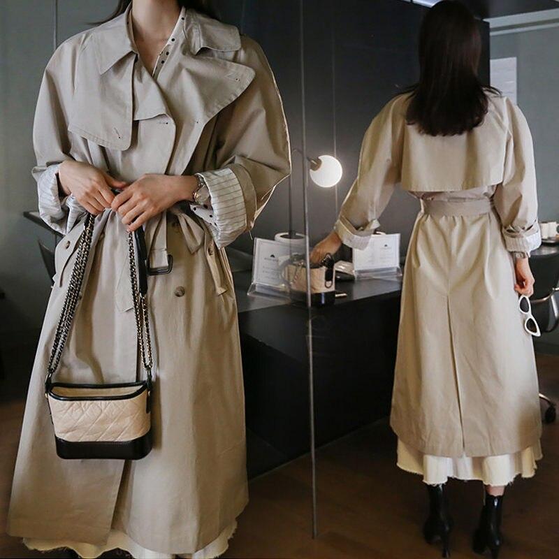 Новинка 2020, весеннее и осеннее пальто, женская одежда, свободная, средней длины, на шнуровке, большой размер, белая ветровка, Женская куртка ...