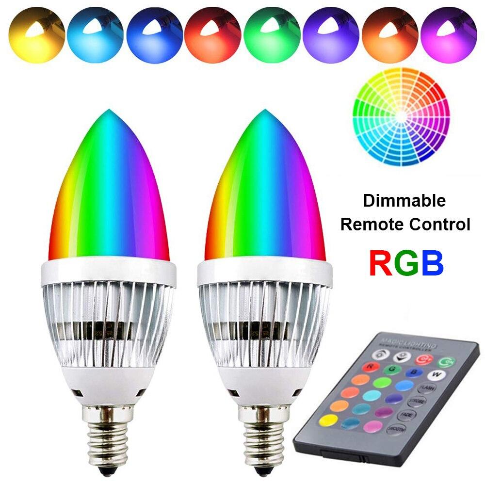 E12 E14 Leuchter Led-lampe RGB 3W 16 Farbe Veränderbar LED Lampe Kerze Licht Fernbedienung Dimmbare LED Licht lampen Wohnkultur
