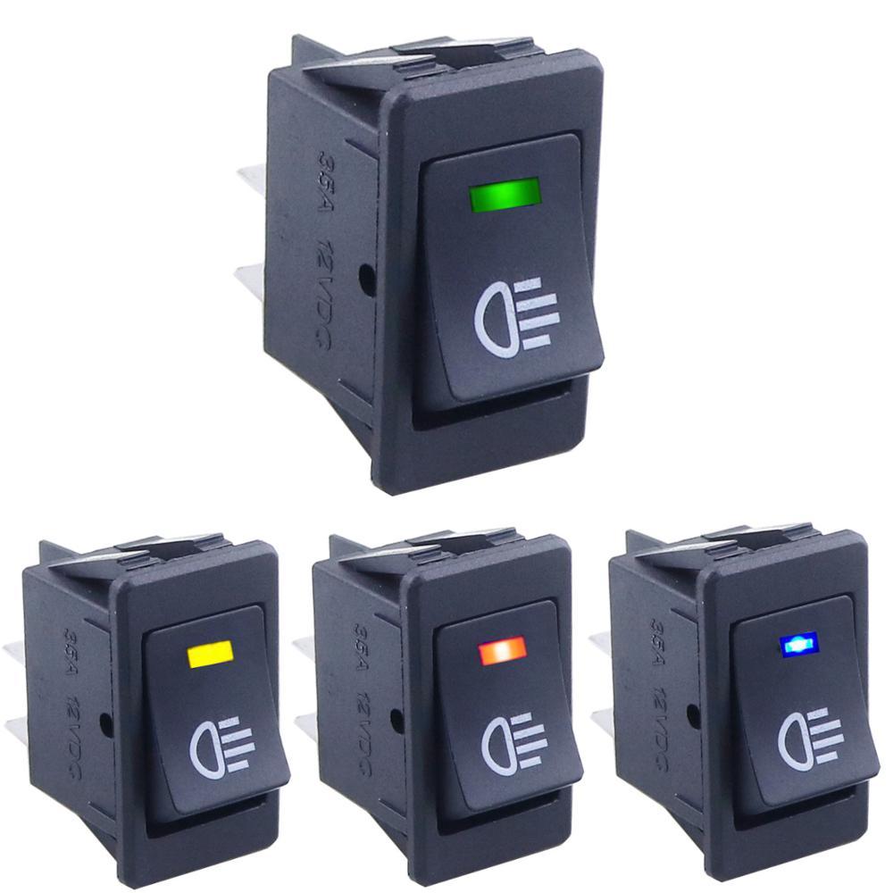KCD4 interrupteur à bascule ON-OFF 2 positions 4 broches LED 12V 35A automobile réaménagement interrupteur de brouillard avec interrupteur à bascule léger