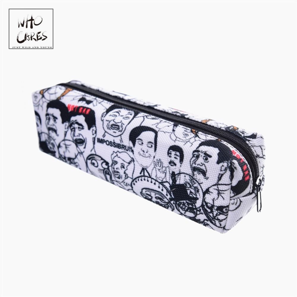 Who Cares 3D Printing School Cosmetic Bag Women Makeup Bag Pencil Case New Pouch Maleta De Maquiagem Travel Organizer Necessaire