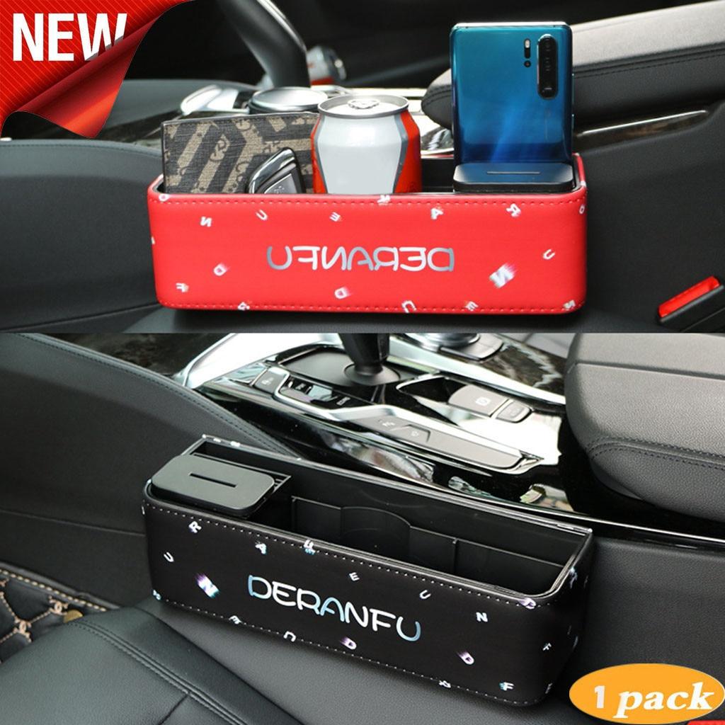 Leather Catch Catcher Box Car Seat Slit Pocket Storage Organizer New.