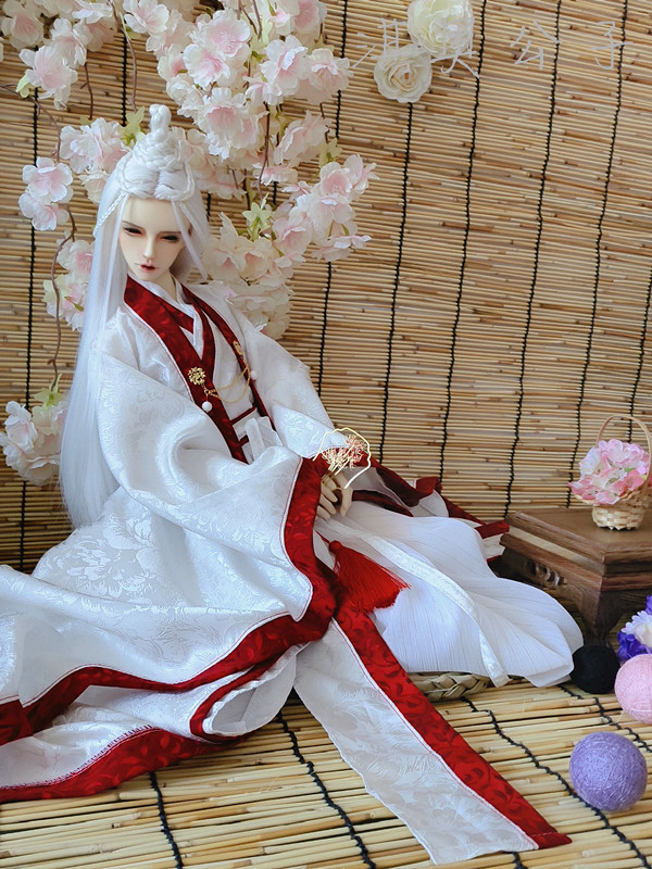 BJD SD Doll 1//6 Figure Chinese Ancient Costume Brocade White High Boots Be