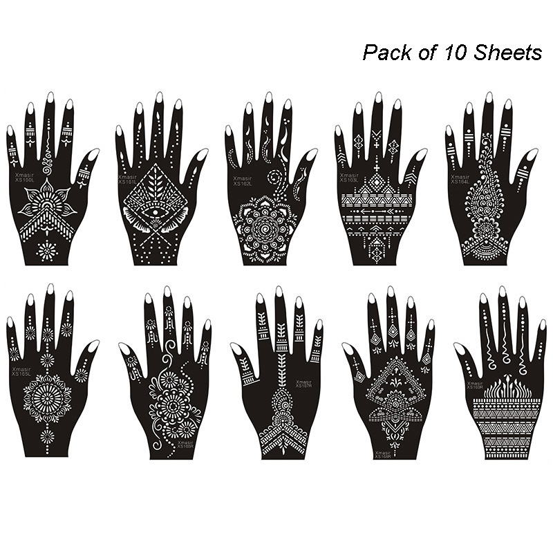 Xmasir 10pcs/Set Henna Tattoo Stencil Kit For Women Gilr Temporary Tempaltes Tattoo Stickers For Hands Body Art New Design