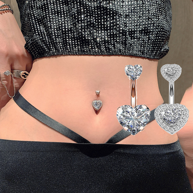 Zircon Crystal Belly Button Rings For Women Nombril Ombligo Navel Ring Surgical Steel Barbell Heart Round Body Piercing Jewelry 1