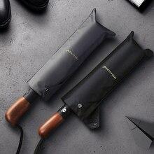 LEODAUKNOW rüzgara dayanıklı katlanır otomatik şemsiye oto lüks büyük rüzgar geçirmez deri kolu şemsiye yağmur erkekler için