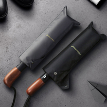 LEODAUKNOW Ветрозащитный складной автоматический зонтик авто Роскошные Большие ветрозащитные кожаные зонты с ручкой от дождя для мужчин